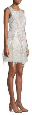 BCBGMAXAZRIA Draped Lace Mini Dress