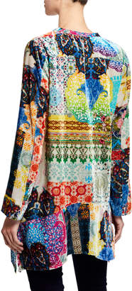 Johnny Was Gigi Printed Velvet Tunic