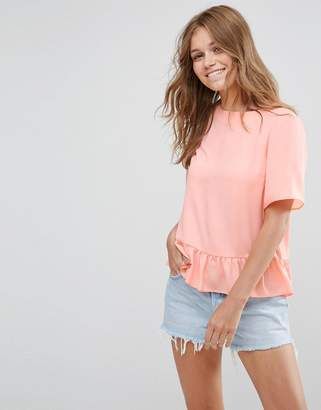 Asos Woven T-Shirt With Ruffle Hem