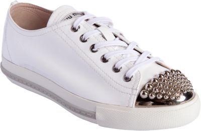 Miu Miu Studded Metallic Cap Toe Sneaker