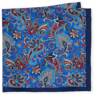 Piattelli Bruno Royal Blue Floral Paisley Silk Pocket Square