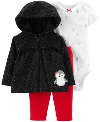 Carter's Child of Mine by Hooded Babydoll Cardigan, Short Sleeve Bodysuit & Pants, 3-Piece Outfit Set (Baby Girls)