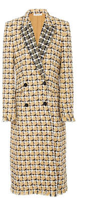 Oscar de la Renta Geometric Check Tailored Double Breasted Coat