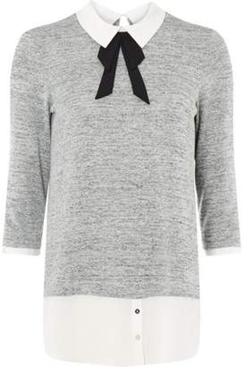 Dorothy Perkins Womens Grey Pussybow 2-In-1 Top
