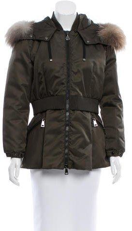 MonclerMoncler Saumur Fox-Trimmed Coat