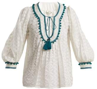 Talitha - Zipzag Embroidered Cotton And Silk Blend Shirt - Womens - Green White