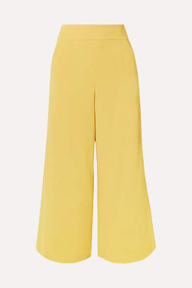 Alice + Olivia Donald Cropped Crepe Wide-leg Pants - Yellow