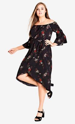 City Chic Floral Off Shoulder Dress