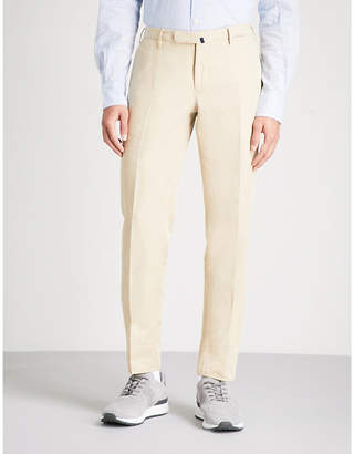 SLOWEAR Slim-fit tapered linen and cotton-blend chinos