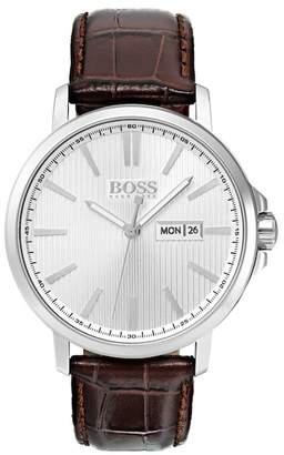 BOSS Men's Quartz Leather Strap Watch, 42mm