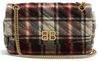 Balenciaga Bb Round Plaid Bag - Womens - Black White