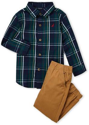 Nautica Toddler Boys) Two-Piece Plaid Shirt & Jogger Pants Set