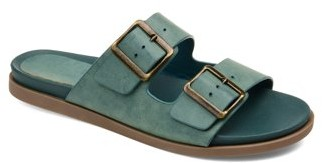 Brinley Co. Womens Dual Strap Buckle Detail Sandal