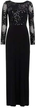 Wallis Black Mesh Embellished Maxi Dress