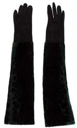 Dolce & Gabbana Velvet & Suede Long Gloves black Velvet & Suede Long Gloves