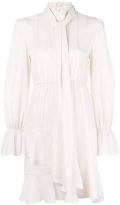 See by Chloe checked high neck ruffle dress