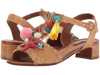 Dolce & Gabbana Raffia T-Strap Sandal with Shells 30mm Women's Sandals