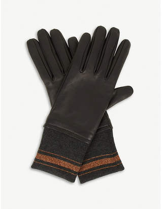 Brunello Cucinelli Trimmed cashmere and leather gloves
