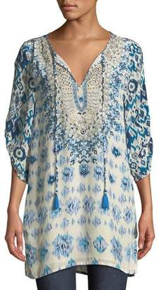 Tolani Ingrid Long Easy Embroidered Cupro Tunic, Plus Size