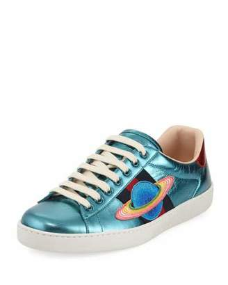 Gucci Men's New Ace Metallic Leather Planet Sneakers
