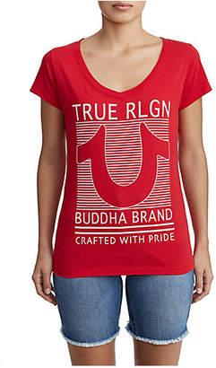 True Religion LINED HORSESHOE ROUNDED V TEE