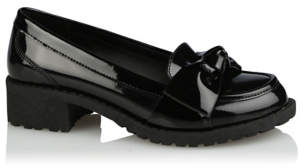 George Girls Black Wide Fit Patent Bow Trim School Loafers