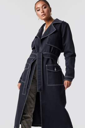 Na Kd Trend Oversized Denim Coat Dark Blue