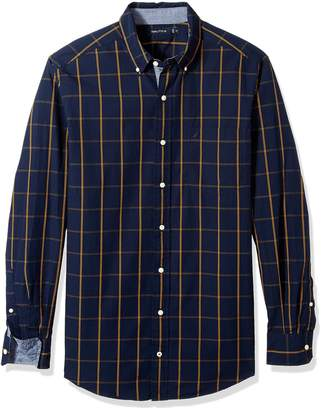 Nautica Men's Big and Tall Long Sleeve Cotton Marina Poplin Plaid Shirt