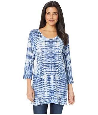 Nally & Millie Blue Tie-Dye Print Tunic