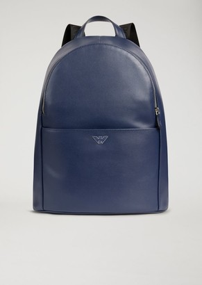 Emporio Armani Printed And Boarded Leather Backpack With Logo Straps