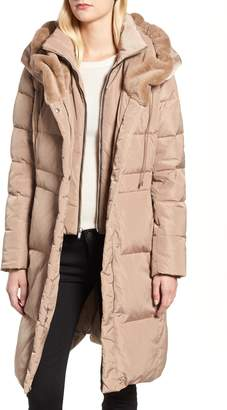 Cole Haan Down & Feather Coat with Faux Fur Hood