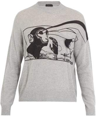 Prada Monkey-print cashmere jumper