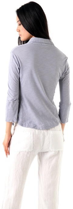 James Perse Ribbed Panel 3/4 Sleeve Shirt