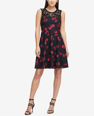 DKNY Floral Fit & Flare Dress