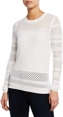Diane von Furstenberg Fontanne Open-Stitch Crewneck Long-Sleeve Sweater
