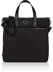 Prada Men's Leather-Trimmed Tote Bag-Black