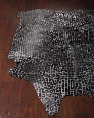 Nathan Croc-Stamped Hair-Hide Rug, 5' x 8'