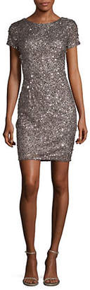 Adrianna Papell Beaded Open Back Shift Dress
