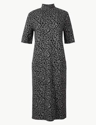 Marks and Spencer Animal Print Short Sleeve Shift Midi Dress