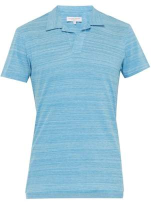 Orlebar Brown Felix Open Neck Cotton Polo Shirt - Mens - Blue