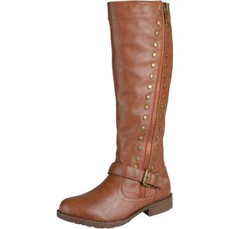 27584671681 sekesin Womens Ladies Leather Knee High Boots Flats Side Zip Winter Boots  Long Riding Biker Boots