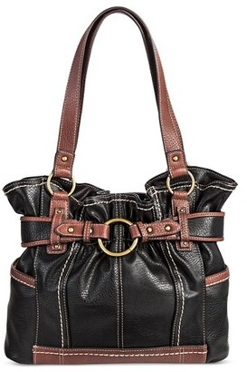 Bolo Women's Faux Leather Tote Handbag with Back/Interior Compartments with Top Zipper Snap Closure - Black/Walnut $44.99 thestylecure.com