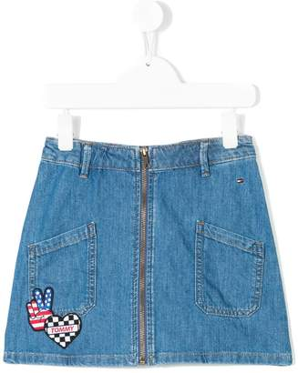 Tommy Hilfiger Junior badge detail denim skirt