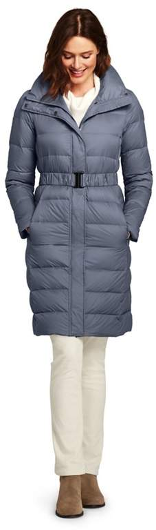 Blue Petite Ultra Light Down Coat With Belt