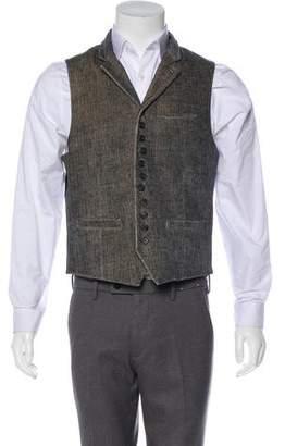 John Varvatos Velvet Button-Up Vest