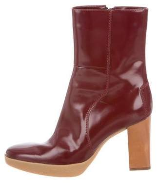 Tod's Patent Leather Round-Toe Ankle Boots