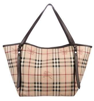 Burberry Leather-Trimmed Haymarket Check Tote