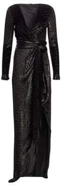 Alice + Olivia Brandon Maxwell Lurex Faux Wrap Metallic Gown