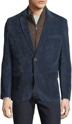 English Laundry Men's Huston Blazer with Faux Suede Bib, Blue
