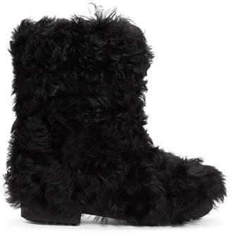 Saint Laurent Black Furry Boots